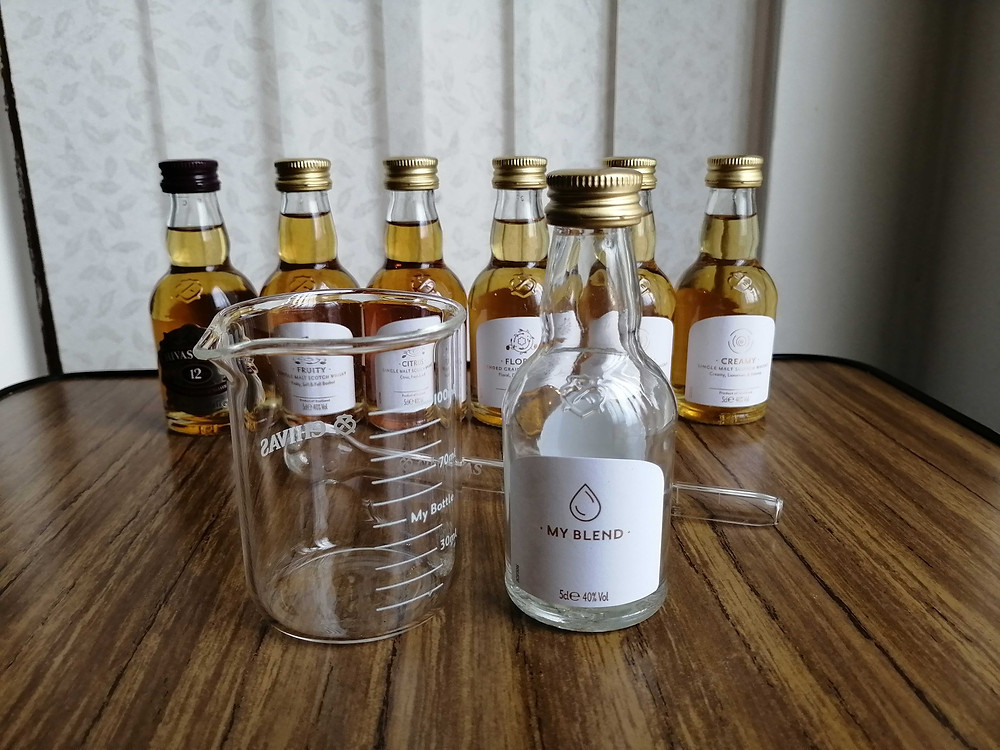 whisky blending kit from chivas regal with pipette and beaker