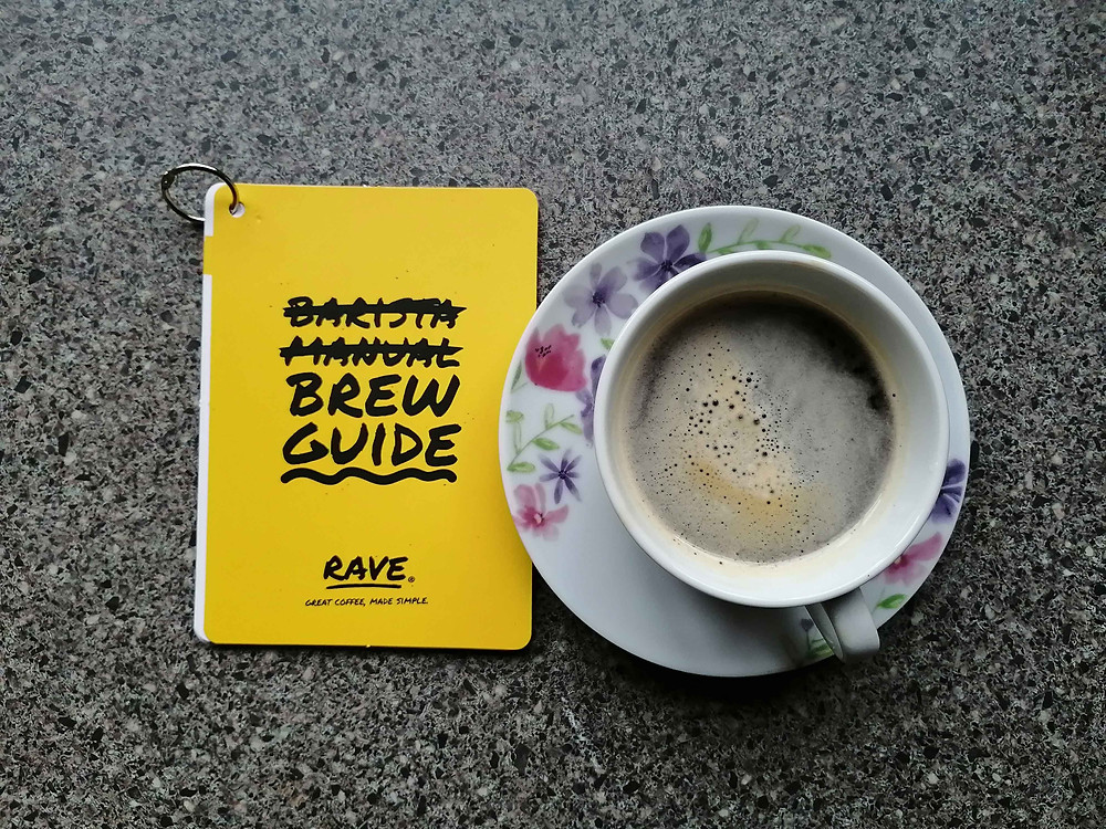 Brew guide and cup of coffee rave