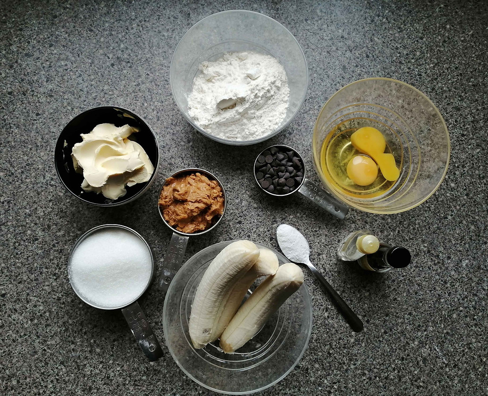 Peanut butter banana bread ingredients