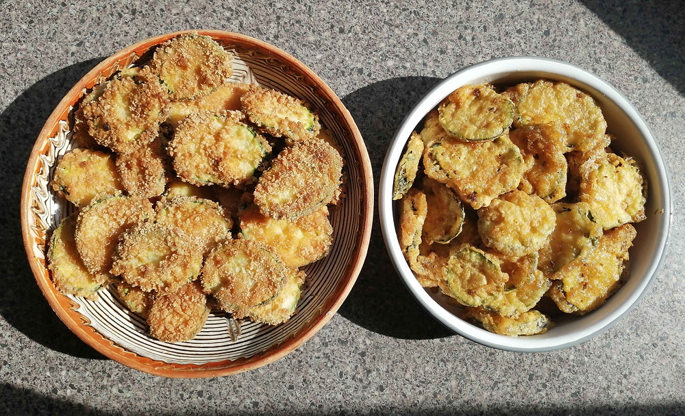 Fried Courgettes with and without breadcrumbs