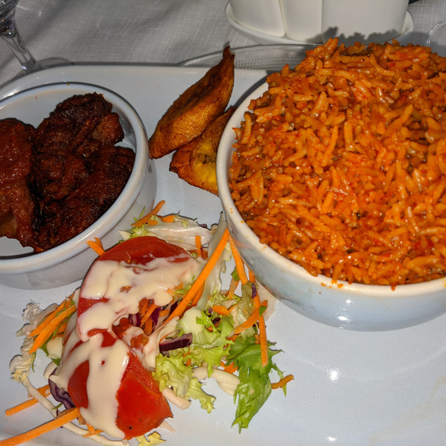 Jollof Rice with plantain and beef