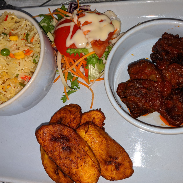 Fried Rice with plantain and beef