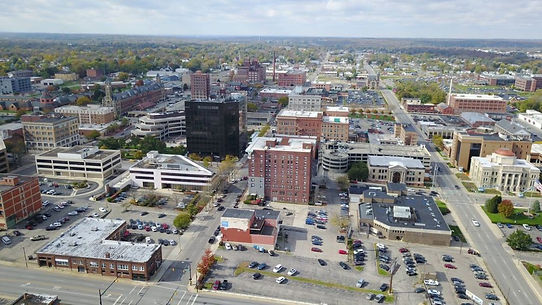 Arial shot of Springfield, Ohio