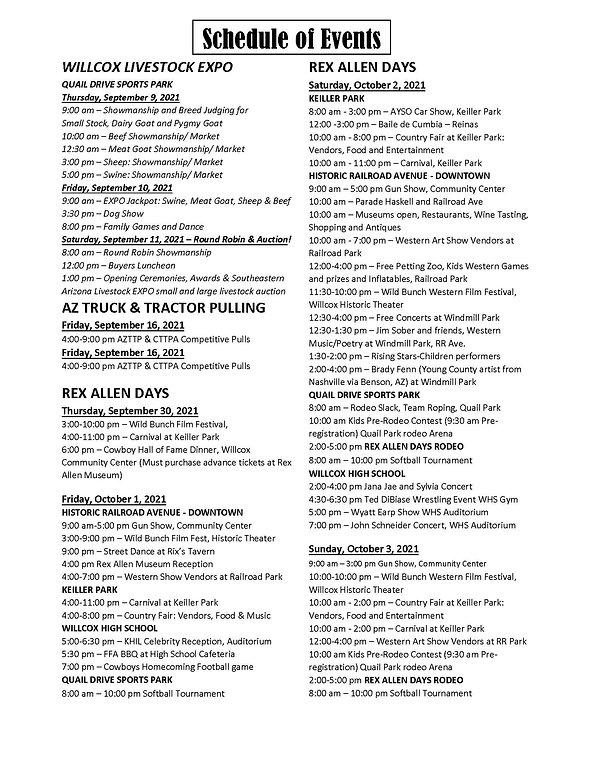 Rex Allen Days Schedule of Events as of