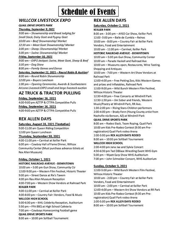 Rex Allen Days Schedule of Events 17 May