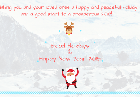 Good Holidays and Happy New Year 2018