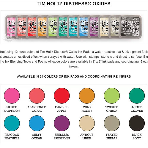 ALL 12 NEW Tim Holtz Distress Oxides Ink pad Colours