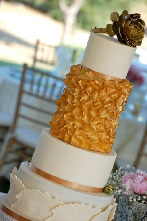 Gold Petal Wedding Cake