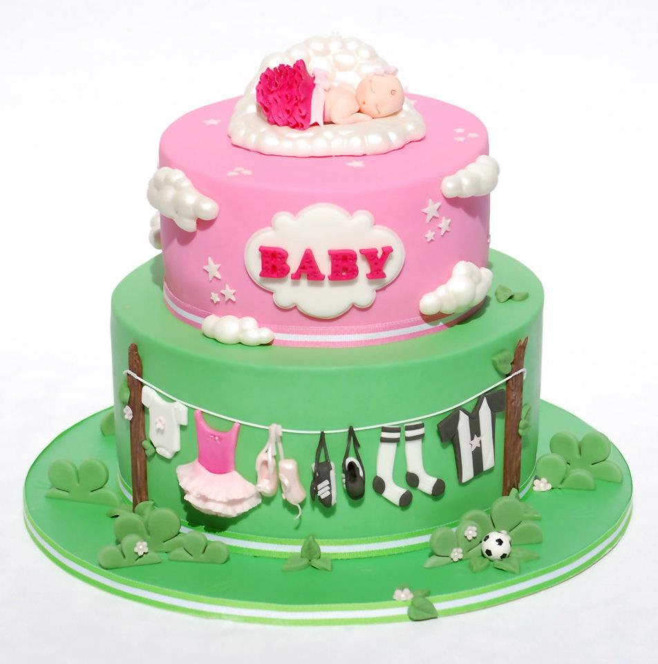 Ballet and Soccer Baby Shower Cake