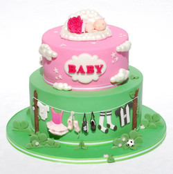Ballet and Soccer Baby Shower Cake