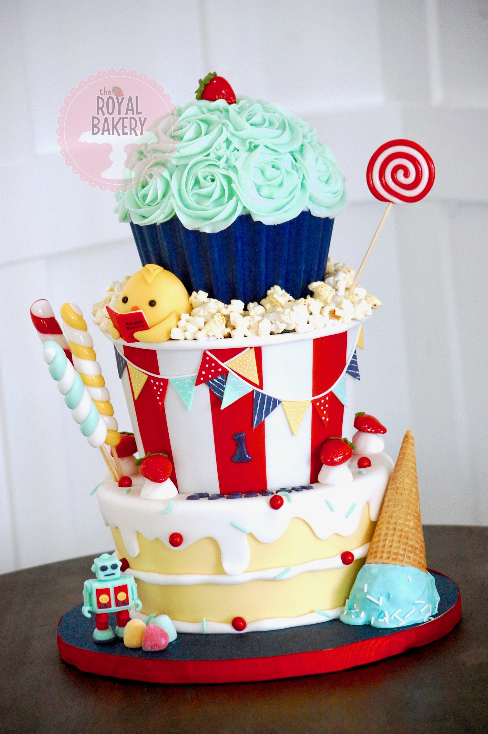 Popcorn and Candy Cake
