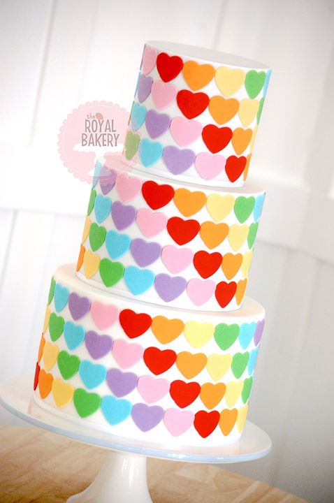 Rainbow Hearts Cake