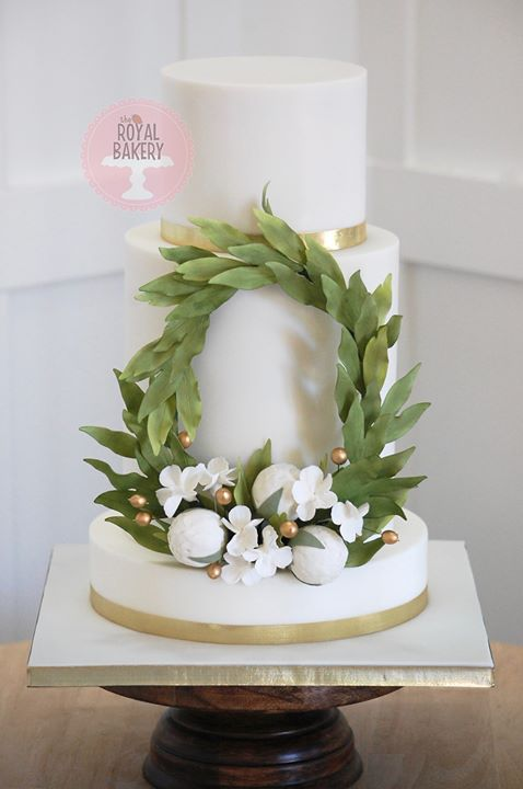 Peony Wreath Wedding Cake