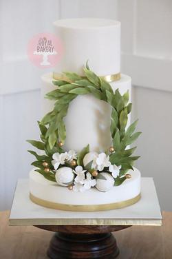 Peony Wreath Wedding Cake