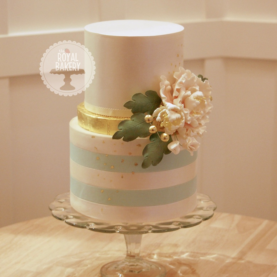 Gold Leaf and Peony Wedding Cake