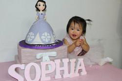 Sophia with her Sofia cake.