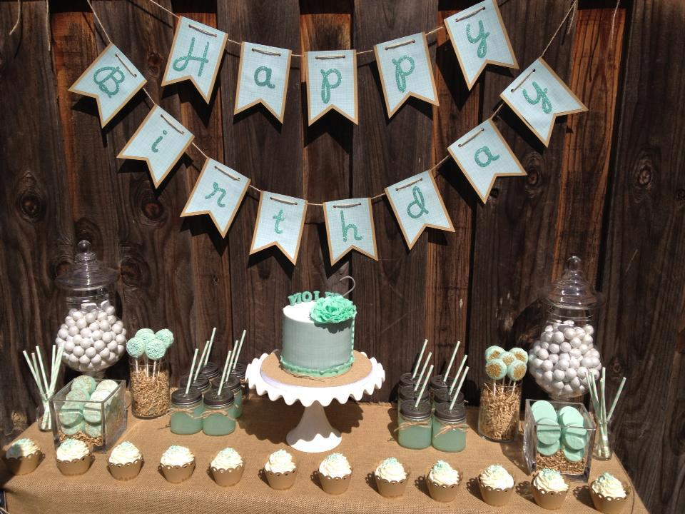 Violet's mint dessert table.