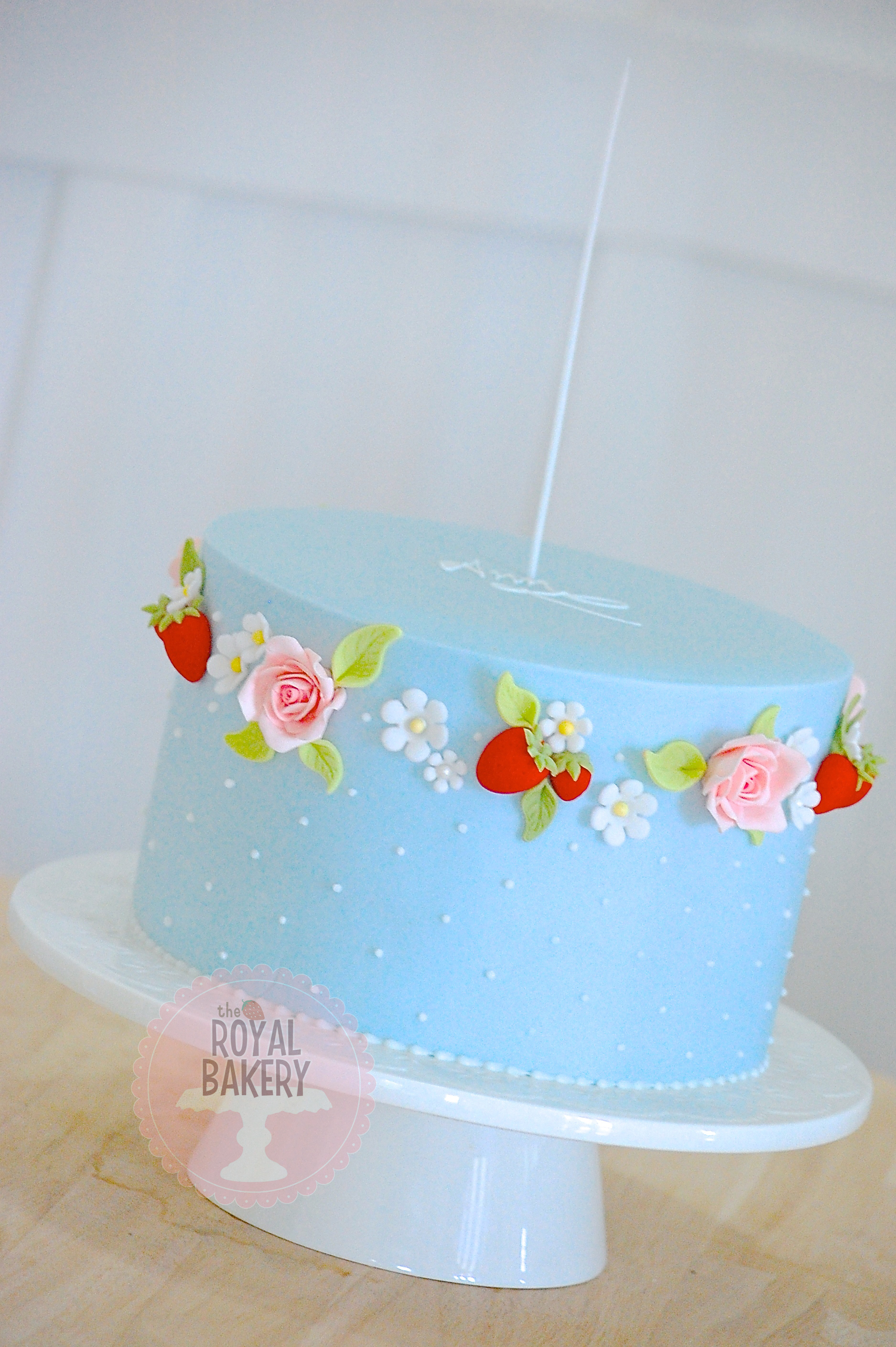 Roses and Strawberries Cake