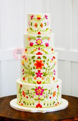 Mexican Embroidery Quinceañera Cake