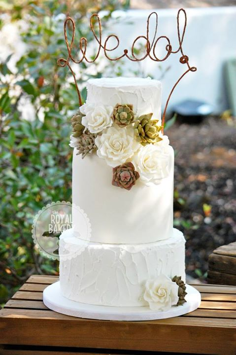 Succulents and Roses Wedding Cake