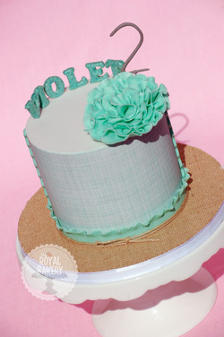 Teal and Burlap Cake