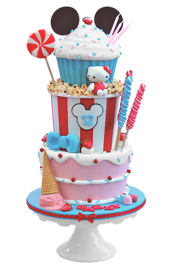Three tier candy birthday cake