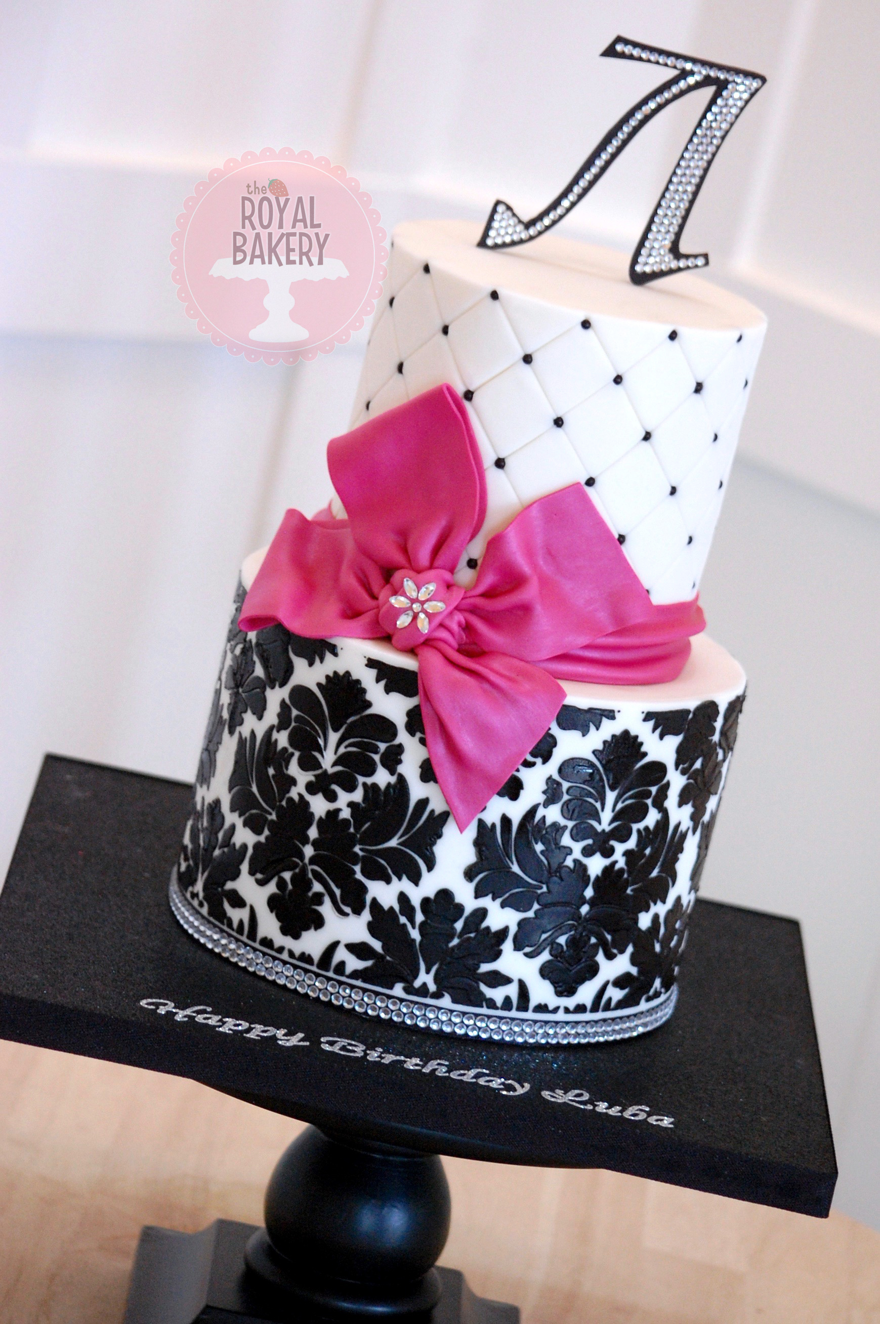 Damask and Bow Cake
