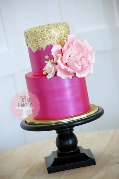 Hot Pink and Peony Cake