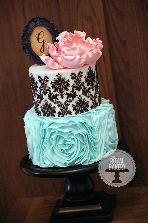 Damask and Ruffles Cake