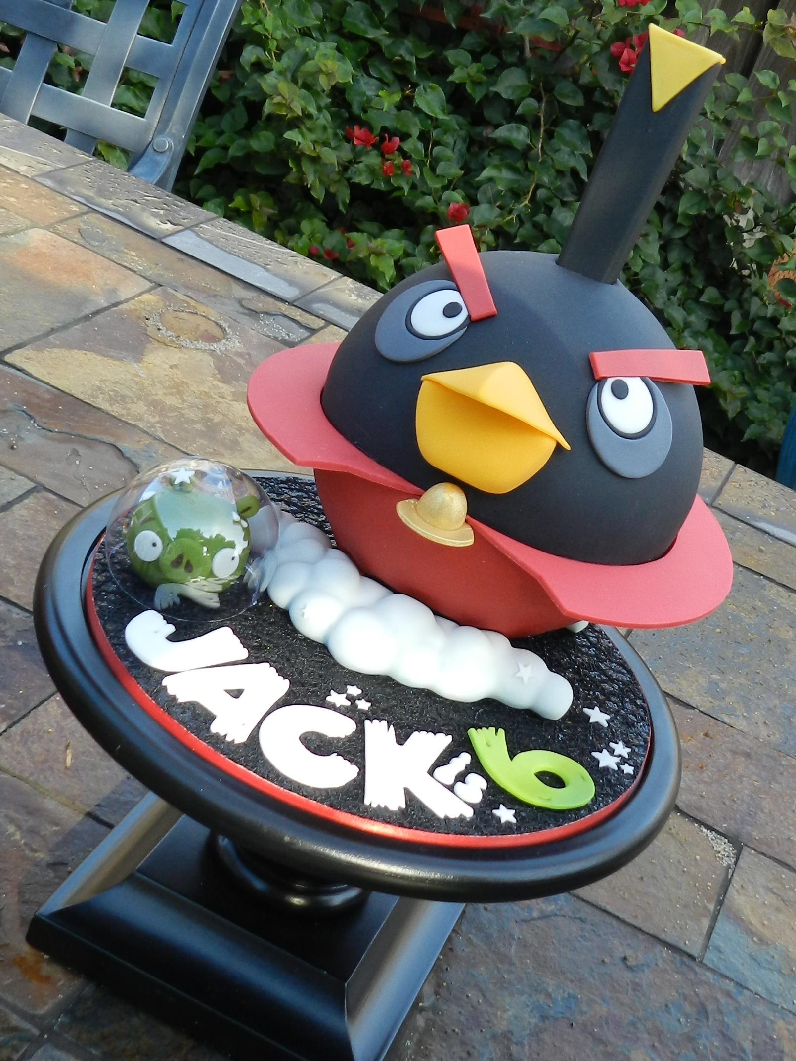 Black Angry Birds Cake
