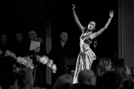 """2018 Contemplative Care Gala: An Evening of Transformation.    """"Requiem"""" choreography by Jacqlyn Buglisi.   Photo: Joshua Bright."""