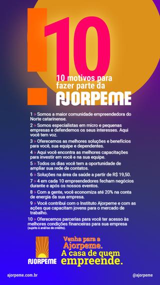 10 motivos para fazer parte da Ajorpeme