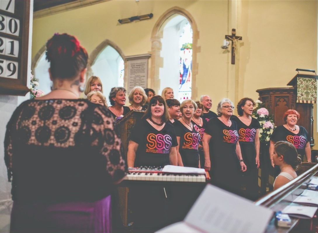 The choir at Katie's wedding, 2014