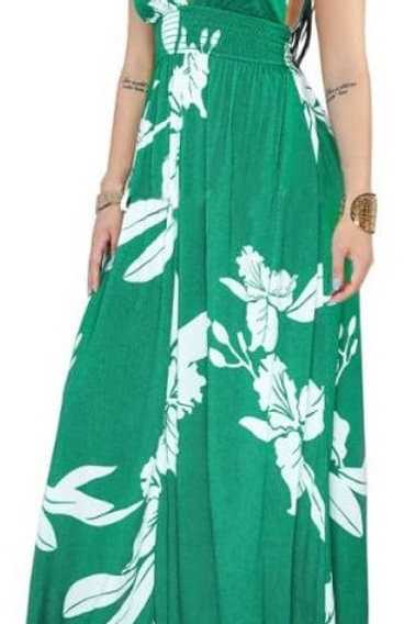 Green Flower V-Cut Dress