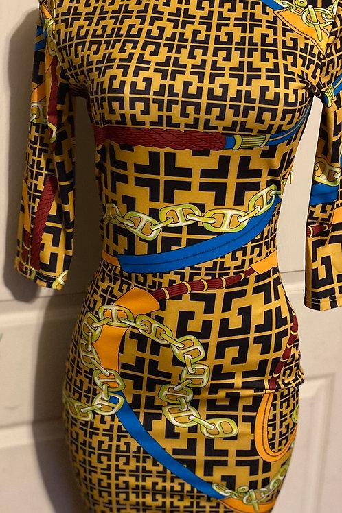 Fendi Inspired Print Yellow Knee Dress