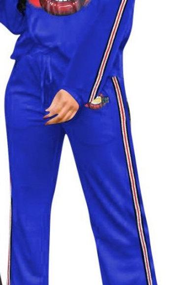 Blue 2pc Lips Pants Set