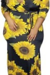 Black & Yellow Flower Maxi Dress