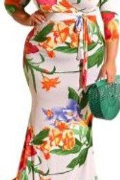 White & Orange Flower Maxi Dress