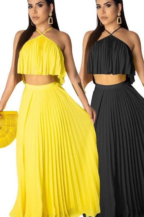 Pleated 2pc Skirt Set (Black)