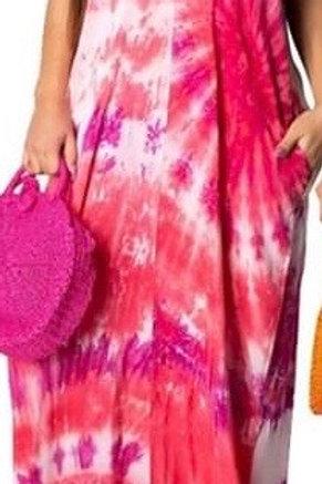 Pink Low Cleavage Tye Dye Maxi Dress