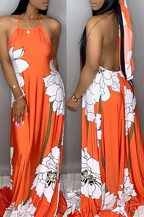 Orange & White Back Out Flower Maxi Dress