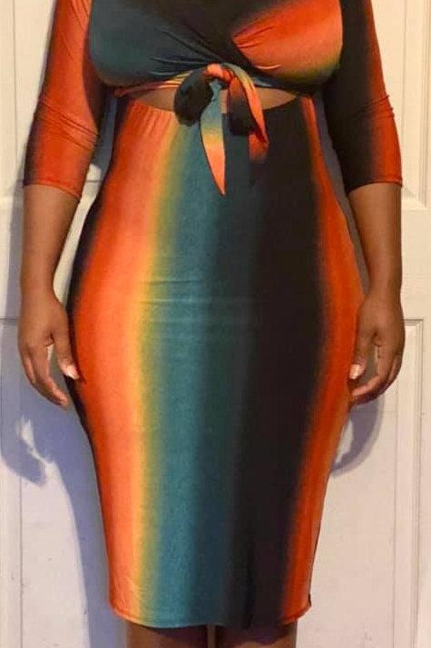 Tie Front Orange, Black, & Green Dress