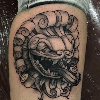 Low Bar Ink_Blackwork Foo Dog tattoo