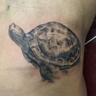 Low Bar Ink_Blackwork Turtle Tattoo