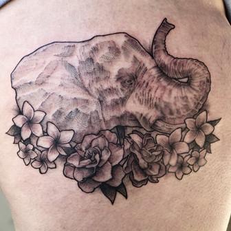 Low Bar Ink_Elephant with plumeria tatto