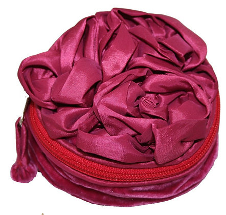 Velvet and satin rose jewellery pouch in fuschia