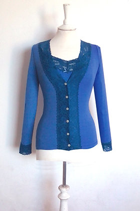 Gabriella Knight lace cardigan china blue