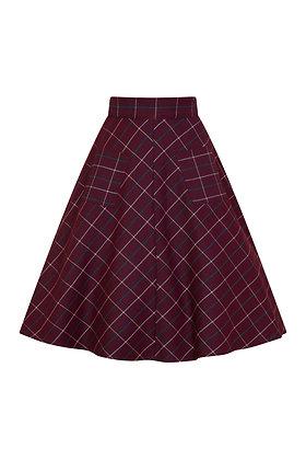 Check pocket skirt in burgundy