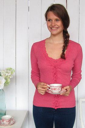 Gabriella Knight wavy lace cardigan coral