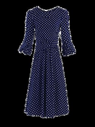 Geo ovals midi dress in dark blue